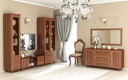 Obývací sestava Sofia s prosklením - ořech