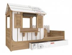 Dětská postel s domečkem a úložným prostorem Brody 80x190cm - dub zlatý/bílá