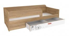 Dětská postel s úložným prostorem Brody 80x190cm - dub zlatý/bílá