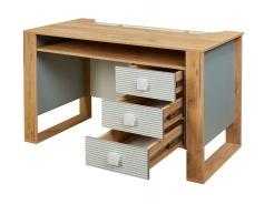 Psací stůl Ezra - dub zlatý/modrá/bílá