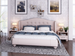 Čalouněná postel s roštem Coraline 160x200cm - béžovo/šedá