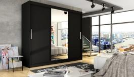 Šatní skříň ASTON I černá zrcadlo