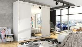 Šatní skříň ASTON I bílá zrcadlo