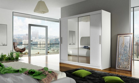 Šatní skříň BEGA II bílá zrcadlo