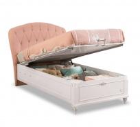 Dětská postel s úložným prostorem Carmen 100x200cm - bílá/růžová