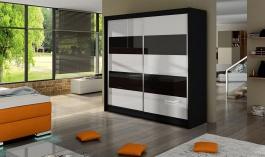 Šatní skříň FALKO III černá/bílá