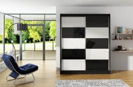 Šatní skříň VITO II černá/bílá