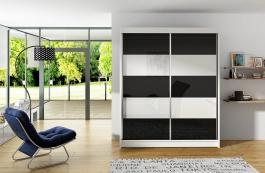 Šatní skříň VITO III bílá/černá