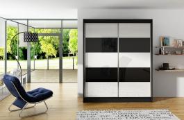 Šatní skříň VITO III černá/bílá
