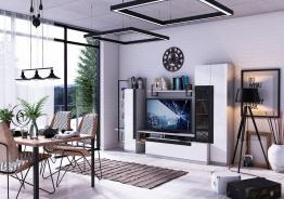 Obývací sestava Logan - dub šedý/bílý lesk