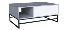 Konferenční stolek Logan - dub šedý/bílý lesk