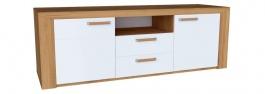 Televizní stolek Morgana - dub zlatý/světle šedý lesk