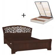 Manželská postel 140x200cm Sofia s ornamentálním čelem, úl. boxem a výklop. roštem - ořech