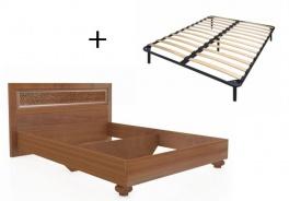 Manželská postel 140x200cm Sofia s klasickým čelem a ortopedickým roštem - ořech
