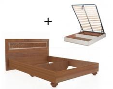 Manželská postel 140x200cm Sofia s klasickým čelem, úl. boxem a výklop. roštem - ořech