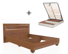 Manželská postel 180x200cm Sofia s klasickým čelem, úl. boxem a výklop. roštem - ořech