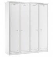 Čtyřdveřová šatní skříň Betty - bílá/šedá
