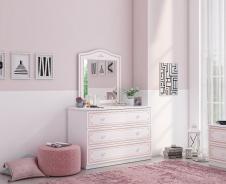 Široká komoda se zrcadlem Betty - bílá/růžová