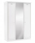 Třídveřová šatní skříň se zrcadlem Betty - bílá/šedá