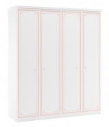 Čtyřdveřová šatní skříň Betty - bílá/růžová