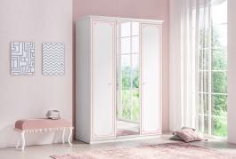 Třídveřová šatní skříň se zrcadlem Betty - bílá/růžová