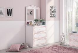 Zásuvková komoda se zrcadlem Betty - bílá/růžová