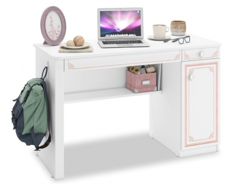 Psací stůl Betty - bílá/růžová