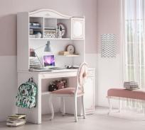 Psací stůl s nástavcem Betty - bílá/růžová