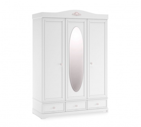 Třídvéřová šatní skříň Ballerina se zrcadlem - bílá