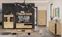 Obývací sestava Alfred II - dub artisan/černá