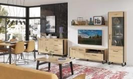 Obývací sestava Alfred - dub artisan/černá