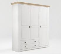 Šatní skříň Belinda 3D - bílá/dub masiv