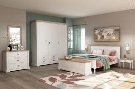 Ložnice Belinda - bílá/dub masiv