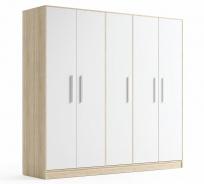 Šatní skříň AZURO 5D dub sonoma/bílá