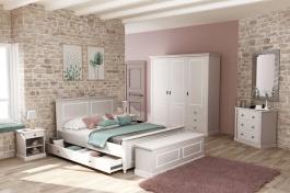 Ložnice Casandra  - šedá/bílá patina