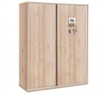 Velká šatní skříň s posuvnými dveřmi Veronica - dub světlý/bílá