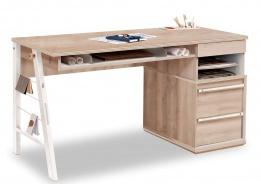 Velký studentský psací stůl Veronica - dub světlý/bílá