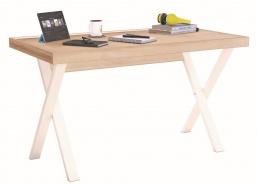Jednoduchý psací stůl Veronica - dub světlý/bílá