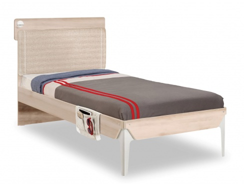 Studentská postel 100x200cm s poličkou Veronica - dub světlý/bílá