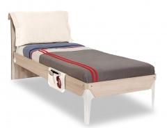 Studentská postel 100x200cm s polštářem Veronica - dub světlý/bílá