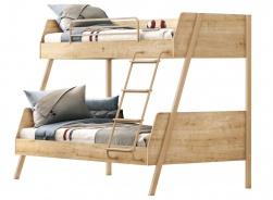 Patrová postel s rozšířeným spodním lůžkem Cody - dub světlý/béžová
