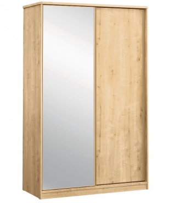 Skříň s posuvnými dveřmi a zrcadlem Cody - dub světlý