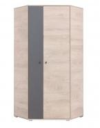 Rohová šatní skříň Gama - dub/antracit