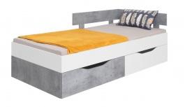 Dětská postel Omega 90x200cm s úložným prostorem - bílá/beton