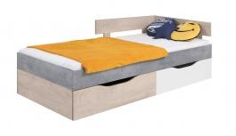 Dětská postel Omega 90x200cm s úložným prostorem - bílá/dub/beton