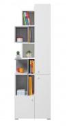 Knihovna Omega - bílá/beton