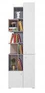 Knihovna Omega - bílá/dub/beton