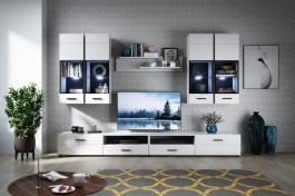 Obývací stěna YORK 1 - 280cm - bílá vysoký lesk