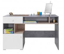 Psací stůl Omega - bílá/dub/beton