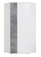 Rohová šatní skříň Omega - bílá/beton